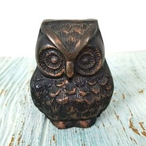 Vintage Cast Metal Wise Owl Figurine Bronze?